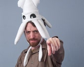 Plush Squid Hat - Small White Fleece