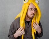 Plush Squid Hat \/ Pillow - Yellow Tie-dye