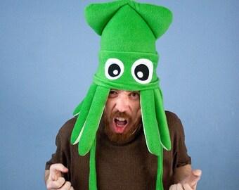 Medium Fleece Squid Hat - Green