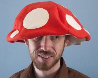 Fleece Mushroom Cap Floppy Hat Red