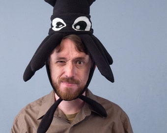 Plush Squid Hat - Small Black Fleece