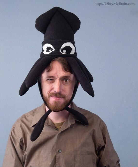 Plush Squid Hat - Small Black Fleece