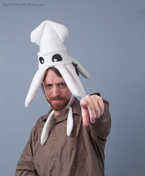 Plush Squid Hat - Small White Fleece