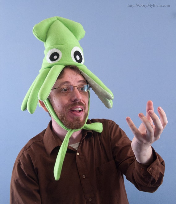 Plush Squid Hat - Small Lime Green Fleece