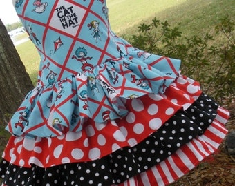 Made to Order Custom Boutique Seuss Cat in Hat Fabric Ruffle Dress Girl 2 3 4 5 6 7 8
