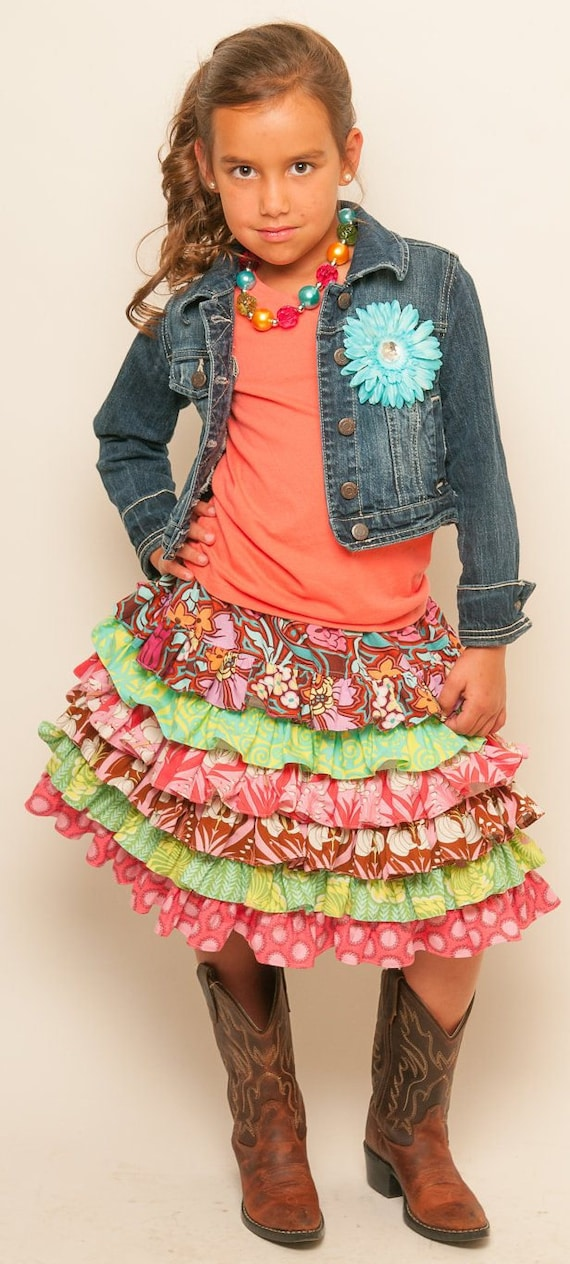 Made to Order Custom Boutique Amy Butler You choose the fabric Nie Nie Ruffled  Skirt Design it Yourself  Girl 2 3 4 5 6 7 8