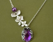 Orchid Cascade With Vintage Purple Amethyst Pendant Necklace.