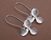 Single Orchid Flower 16K White Gold  Earrings.