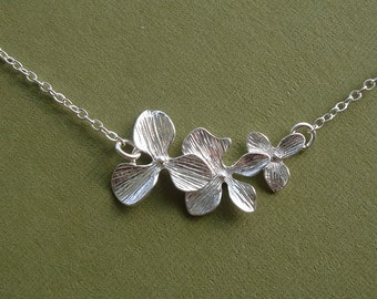 Triple Orchid  Flower Silver Necklace.