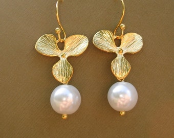 Gold Orchid Flower White Pearl Earrings, Bridesmaids Gift.