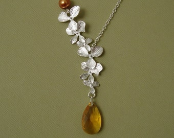 Double Orchid Cascade With Swarovski Honey Crystal Necklace.