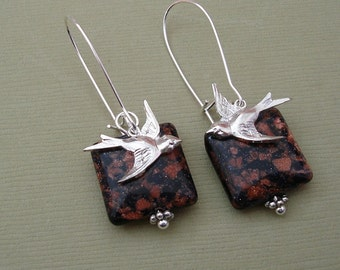 Silver Plated Flying Swallow Bird On Gold Stone Earrings.