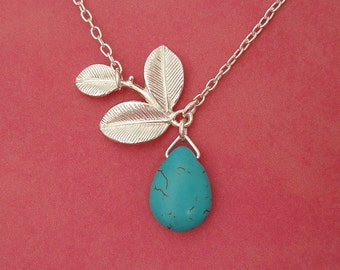 Turquoise Briolette And Three Leaf White Gold Branch Necklace.