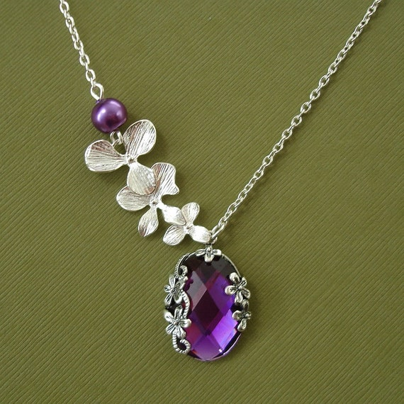Orchid Cascade With Vintage Amethyst Pendant Necklace.