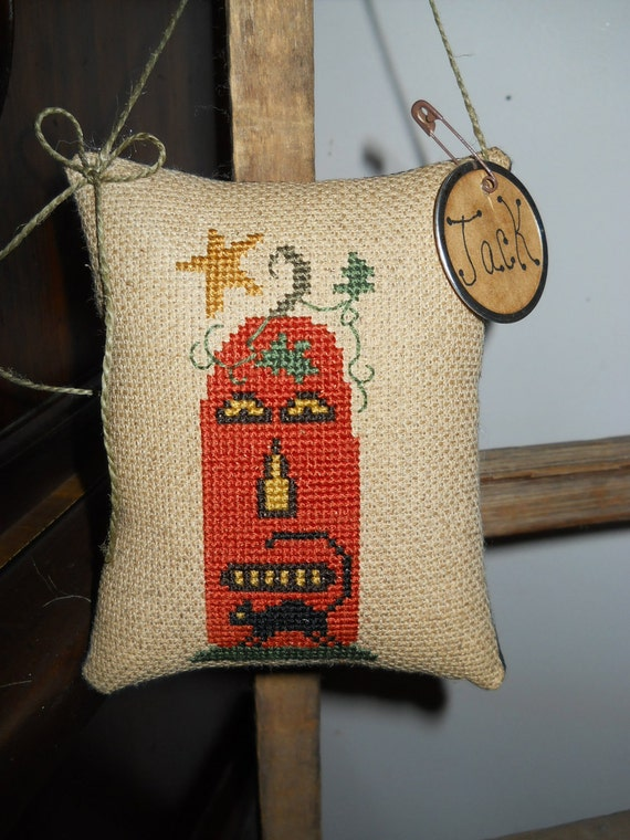 Hand Stitched Fall Halloween Cross Stitched Cupboard Hanger Pillow or Pin Keep