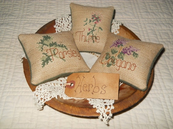 Thyme Oregano Parsley Mini Pillow Bowl Fillers Finished Cross Stitch