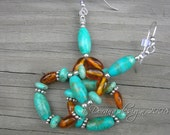 DORANA - Turquoise, Amber and Bali Sterling Silver Woven Chandelier Earrings - a Dorana design
