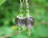 Sparkling Wine - Genuine Amethyst and Peridot Sterling Silver Earrings - Handmade by Dorana