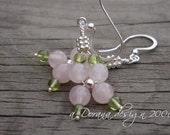 A ROSE Is A ROSE Collection- myBouquet Beaded Floral Designs - Rose Quartz, Peridot and Sterling Silver Earrings