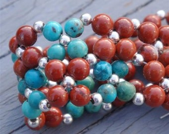INDIAN SUMMER Flower Weave Bracelet - Genuine Turquoise & Red Jasper in Sterling Silver - Handmade by Dorana