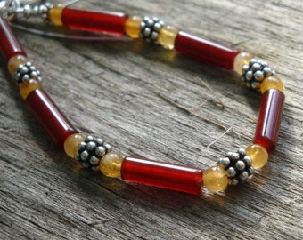 Simply Flower Child - Carnelian & Citrine Bracelet in BALI Sterling Silver  - Handmade by DORANA