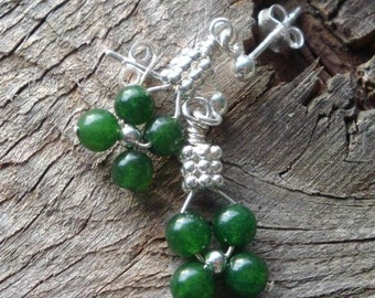 EVERGREEN HOLLY Flower Weave Earrings - myBouquet Design  - Nephrite Jade in Sterling Silver - Handmade by Dorana