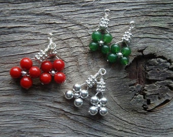 "HOLIDAY WARDROBE Christmas Bridesmaids Earrings - ""It's Beginning to Look a lot like Christmas"" Set of 3 Coral, Jade, in Sterling Silver"