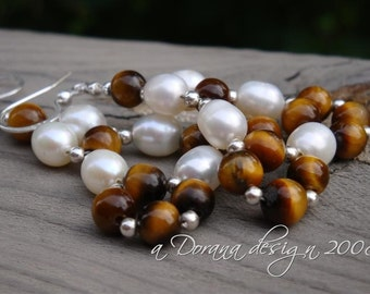 SNOW In The DESERT - Pearl, Tiger's Eye, & Sterling Silver Woven Chandelier Earrings - Handmade by Dorana