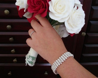 Breakfast at Tiffany's - STERLING SILVER Flower Weave CUFF Bracelet - a Dorana design