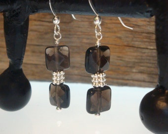 HIP to be SQUARE - Genuine Smoky Quartz in Sterling Silver Simplicity Earrings- Handmade by Dorana