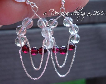 ENDLESS LOVE - Tear Drop Swinging Chandelier Earrings - Crystal Quartz, Garnet and Sterling Silver - Handmade by Dorana