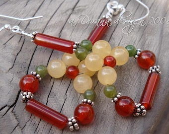 FLOWER CHILD Flower Weave Chandelier Earrings - Genuine Aragonite, Carnelian,and Nephrite Jade in Bali Silver - Handmade by Dorana