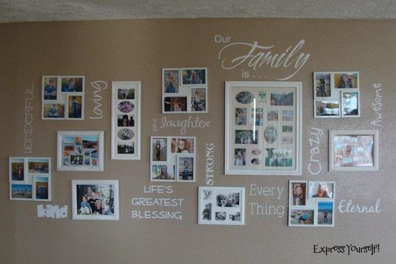 Our Family is . . . vinyl lettering for photo wall