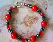 READY TO SHIP - Hematite Healing Bracelet in Red - Bella Mia Beads