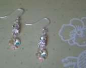 SALE - Venus Love Earrings - Swarovski Crystal Heart Dangle Rhinestone Sparkle Pink Blush Iridescent - Bella Mia Beads - READY to SHIP