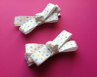 Set of 2 - White Polka Dot Non-Slip Hair Clips