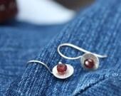 RESERVED--Sterling Rhodolite Garnet earrings in Pommegranate