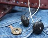 Sterling lava rock earrings
