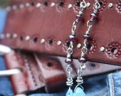 Sterling blue quartz & rhodolite garnet earrings