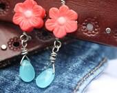 Sterling blue quartz & coral earrings