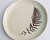 warm gray 12-inch porcelain platter with fern