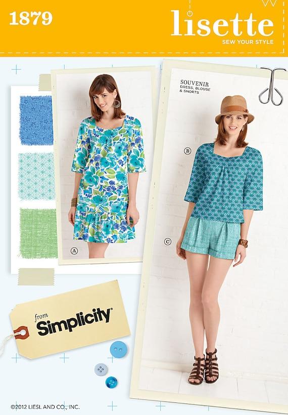 Lisette Souvenir Dress, Top, Shorts Pattern Simplicity 1879 Size 14-22