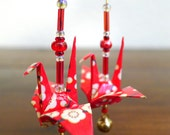 Red Blossom with Jingle Bell - Origami Crane Beaded Earrings