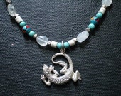 FREE SHIPPING- Moonstone, turquoise, and sterling silver lizard necklace