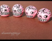 4 Pink and Black Hand Made Clay Sugar Skull Beads(SIDE DRILLED)