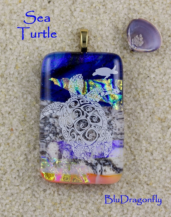 Sea Turtle - Handmade Fused Glass Pendant by BluDragonfly - SRA