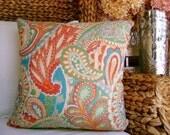 Paisley 18x18  Decorative Pillow Cover, Throw Pillow ,Toss Pillow, Accent Pillow