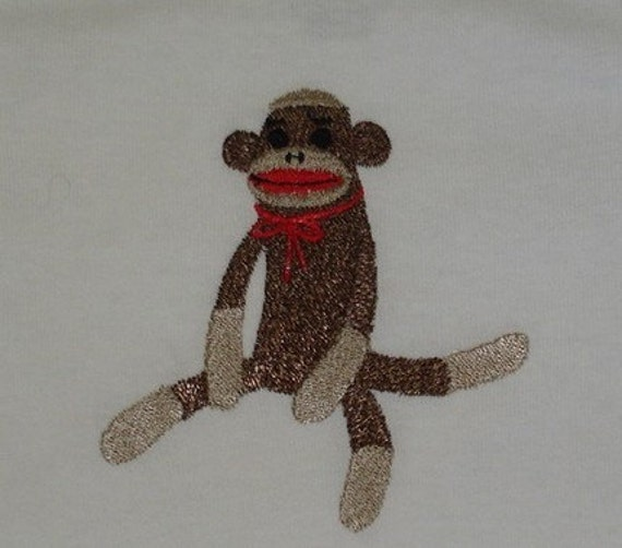 Sit up Straight Sock Monkey Embroidered Onesie