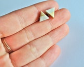 gold dipped pearl - LARGE white triangle earrings - shimmer matte polymer clay