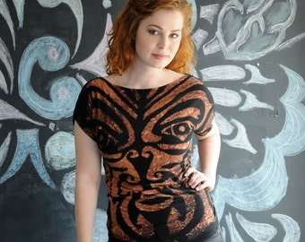 Custom Maori Tshirt   with Lace Insert Handsewn